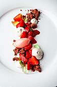 Strawberry sorbet with woodruff cream and chocolate crumble