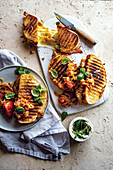 Midweek grilled steak and cheese sandwich with tomato smoor