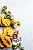 Kiwi, bananas, pineapple, coconut, passion fruit and papaya