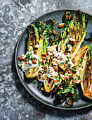Grilled romaine hearts with blue cheese dressing