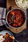 Imam Bayildi with tomatoes and rice