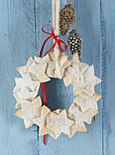Star cookie wreath for Christmas
