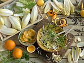 Chicoreesalat mit Apfelsine und Senfblättern