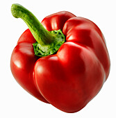 A Red Bell Pepper on a white background
