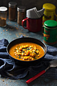 Mulligatawny soup, curried soup with vegetables and rice