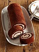 Cocoa roll with mascarpone eggnog cream
