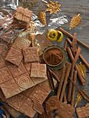 Cinnamon wafers, cinnamon sticks, cinnamon powder and lemon peel