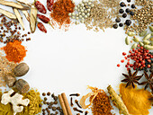 Various spices arranged around the edge of the picture