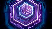 Neon tunnel, abstract illustration