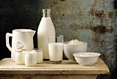 Stillleben verschiedener Milchprodukte