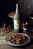 Chocolates with bottle of Madeira wine