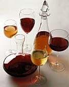 carafes of wine and glasses of wine