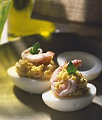 Egg mimosa with shrimps