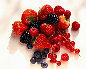 Strawberries, raspberries, redcurrants and grapes