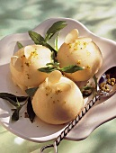 Pear sorbet with toasted almonds