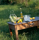 Table and cooking ingredients outdoors