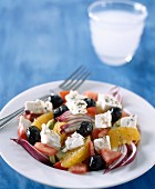 Feta,orange,red onion and black olive salad