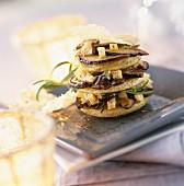 Cep mushroom, artichoke and Parmesan layer