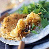 St-nectaire and potato savoury pancake
