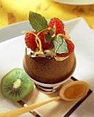 Kiwi with raspberries (topic : fruits for tea time)
