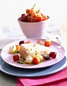 Turbot with grapes
