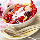 Summer fruit with cream