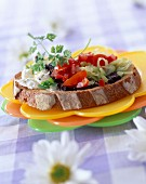 Cheese and salad open sandwich