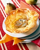 Pear and Fourme d'Ambert cheese in filo pastry