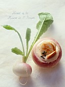 Turnip stuffed with scallop mousse