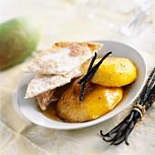 Vanila roast mango with sweet puff pastry