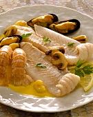 Normandy-style fillets of fish with seafood
