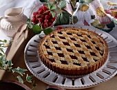 Linzertorte raspberry jam and shortbread lattice tart