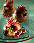 Brioche filled with summer fruit and apple