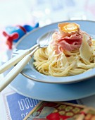 pasta with ham ribbons and raw egg