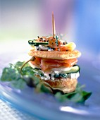 Salmon blini appetizer