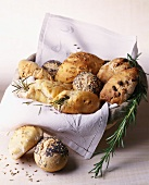 bread basket with rolls