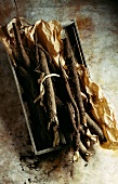 Small crate of salsify
