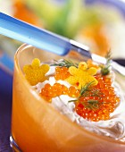 Fromage frais with salmon roe