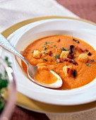 Cream of tomato soup with mushrooms