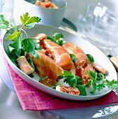 Salmon, crab and salmon roe rolls