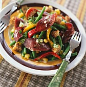 Smoked duck fillet,green bean and marinated pepper salad