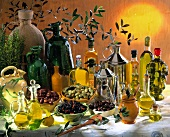 arrangement of olives and olive oils