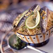 Marinated sardines with lemon wheat
