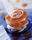 Two salmon layered potato cake