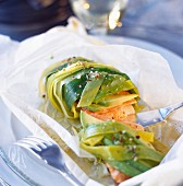 Salmon, leek and avocado cooked in wax paper