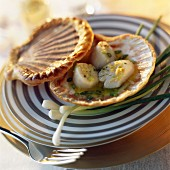 Scallops in shell with ginger and citronella butter