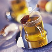 herbal tea and candied sugar sticks