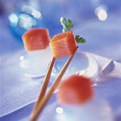 diced raw salmon