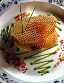 crispy potato fish with salmon robuchon patties