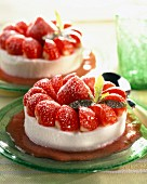 Fromage frais and strawberry cake dessert